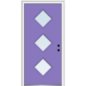 30 in. x 80 in. Aveline Left-Hand Inswing 3-Lite Clear Low-E Glass Painted Steel Prehung Front Door on 4-9/16 in. Frame