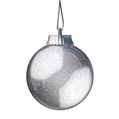 5 in. Silver LED Outdoor Hanging Globe Ornament