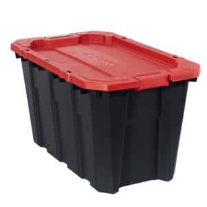 35 Gal. Black and Red Latch and Stack Tote