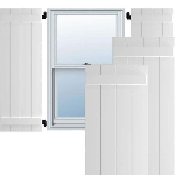 Ekena Millwork 21 1 2 X 58 True Fit Pvc Four Board Joined Board N Batten Shutters White Per Pair 1573496 The Home Depot