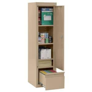 System Series 17 in. W x 64 in. H x 18 in. D Tropic Sand Single Door Storage Cabinet with File Drawer