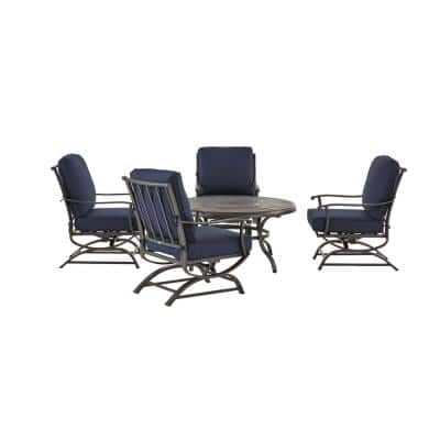 Redwood Valley Black 5-Piece Steel Outdoor Patio Fire Pit Seating Set with CushionGuard Midnight Navy Blue Cushions