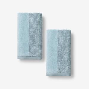 Dual Color Spa Blue Geometric Organic Cotton Fingertip Towel (Set of 2)