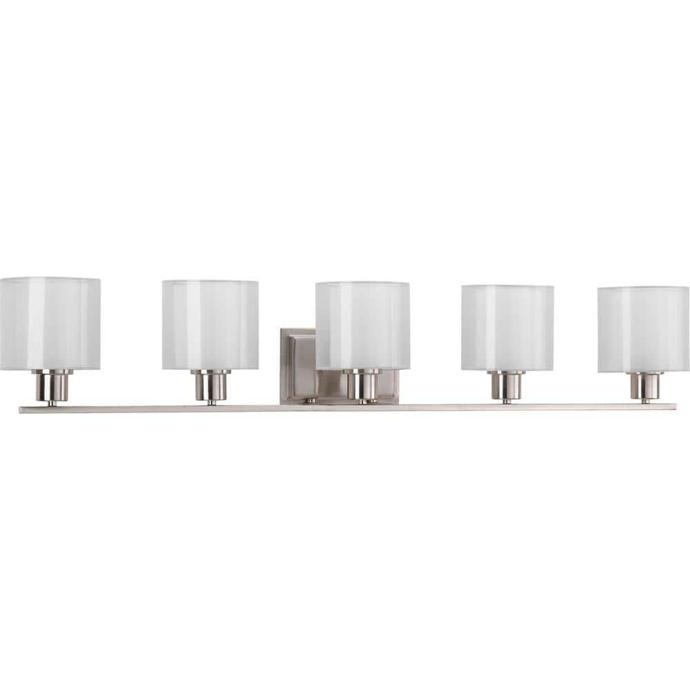 Progress Lighting Invite Collection 5 Light Brushed Nickel White Shade New Traditional Bath Vanity Light P2081 09 The Home Depot