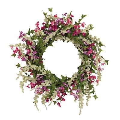 24 in. Dia Spring Flower Garden Wreath