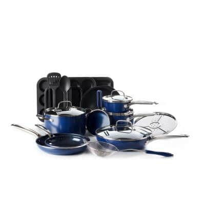 Blue Diamond 20-Piece Aluminum Ceramic Nonstick Cookware Set in Blue