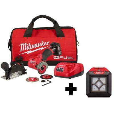M12 FUEL 12-Volt 3 in. Lithium-Ion Brushless Cordless Cut Off Saw Kit with M12 Flood Light