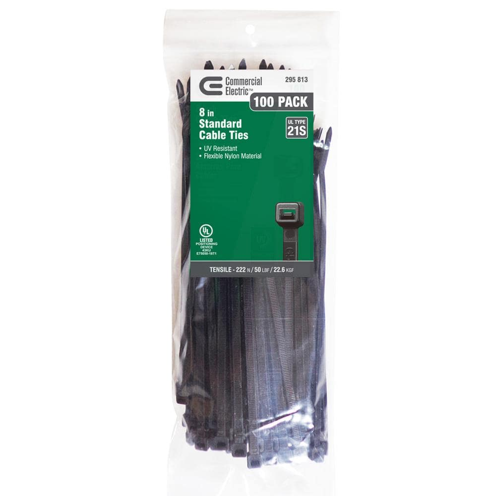 Commercial Electric 8 In Uv Cable Tie Black 100 Pack Gt 200stcb The Home Depot