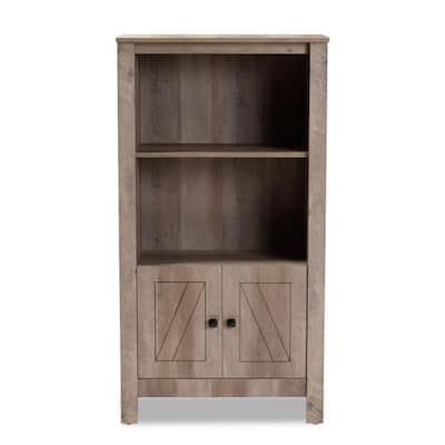 Derek 51.8 in. Natural Oak 2-Shelf Standard Bookcase