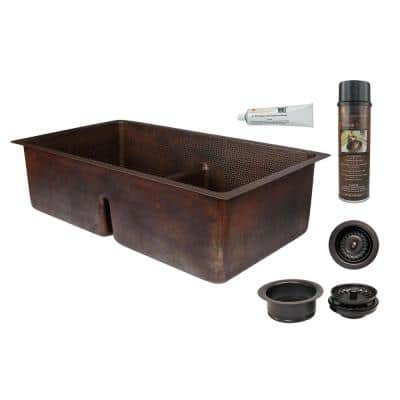 Dual Mount Copper 33 in. 0-Hole Double Bowl 50/50 Kitchen Sink with Short Divide with Drain in Oil Rubbed Bronze