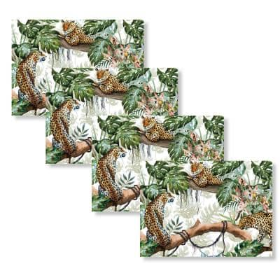 Leopard Jungle 18 in. W x 13 in. L Polypropylene 4-pack Placemat Set