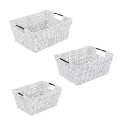 2.56 in. x 5.75 in. White Set Rattan Tote Baskets (3-Pack)