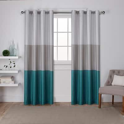 Teal Striped Faux Silk Grommet Room Darkening Curtain - 54 in. W x 84 in. L (Set of 2)