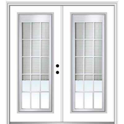 64 in. x 80 in. Internal Blinds and Grilles Left-Hand Inswing Full Lite Clear Glass Painted Steel Prehung Front Door