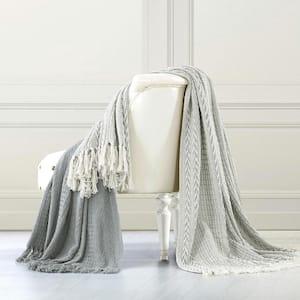 2-Pack Batik Grey Cotton Throw