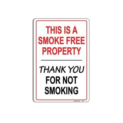 8 in. x 12 in. Smoke Free Property Thank You For Not Smoking Plastic Sign