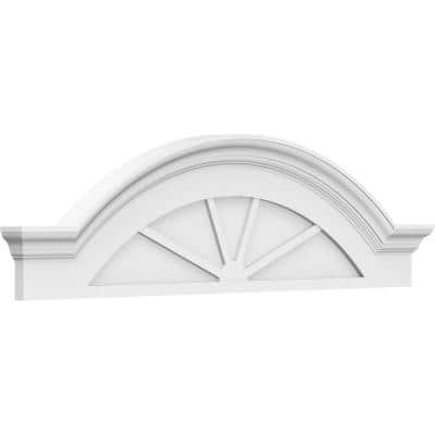 2-1/2 in. x 84 in. x 22 in. Segment Arch with Flankers 4-Spoke Architectural Grade PVC Pediment Moulding