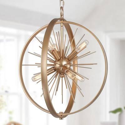 Modern Sputnik Chandelier 6-Light Gold Transitional Globe Hanging Pendant Light Chandeliers for Dining Room