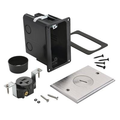 Pass & Seymour Slater Nickel 1-Gang Floor Box with Tamper-Resistant Single Receptacle for Wood Sub-Floor