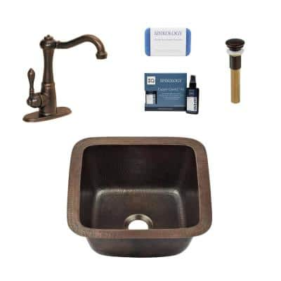 Pollock All-in-One 18 Gauge Copper 12 in. Dual Mount Bar Sink with Pfister Faucet and Drain
