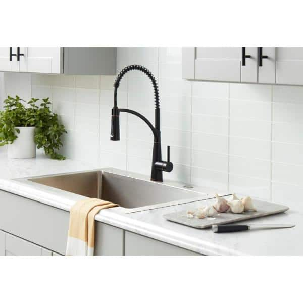 Glacier Bay Brenner Commercial Style Single Handle Pull Down Sprayer Kitchen Faucet In Oil Rubbed Bronze Finish Fp4f0005orb The Home Depot