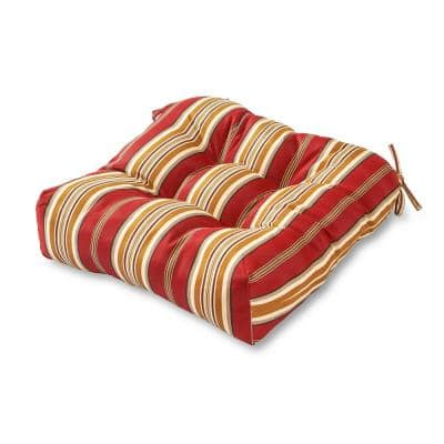 Roma Stripe Square Tufted Outdoor Seat Cushion