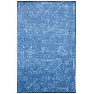 In Control Denim 5 ft. x 8 ft. Whimsical Area Rug