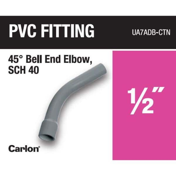Carlon 1 2 In 45 Degree Schedule 40 Pvc Belled End Standard Radius Elbow Ua7adb Ctn The Home Depot