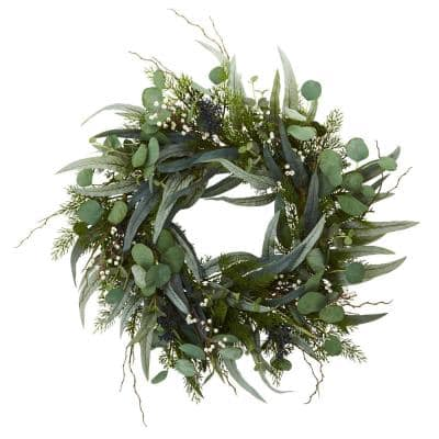 24 in. Indoor Eucalyptus and Mixed Greens Artificial Wreath