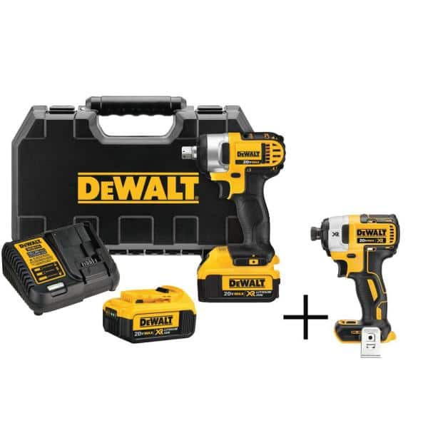 Dewalt 20 Volt Max Cordless 1 2 In Impact Wrench Kit With Detent Pin 2 20 Volt 4 0ah Batteries 1 4 In Impact Driver Dcf880m2w887b The Home Depot