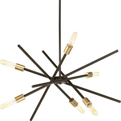 Astra Collection 6-Light Antique Bronze Mid-Century Modern Chandelier Light
