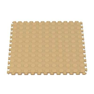 Multi-Purpose 18.3 in. x 18.3 in. Beige PVC Garage Flooring Tile with Raised Coin Pattern (6-Pieces)