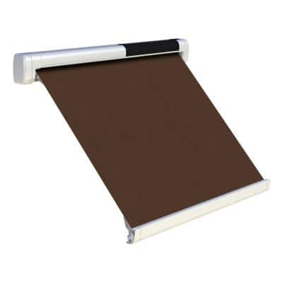 8 ft. Solar Powered Home Window Retractable Smart Awning, Signal White Case, True Brown Fabric