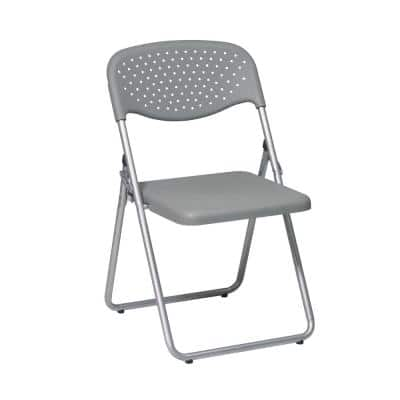 Gray Plastic Seat With Silver Frame Metal Stackable Folding Chair (Set of 4)