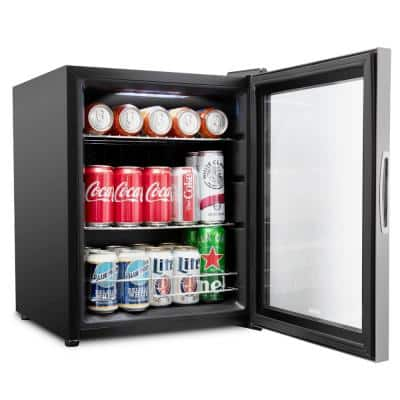 17 in. 62-Can Freestanding Beverage Cooler Refrigerator with Adjustable Shelves in Stainless Steel