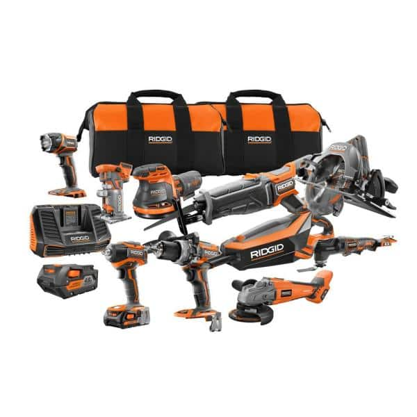 Ridgid 18 Volt Cordless 10 Piece Combo Kit With 1 4 0 Ah Battery And 1 2 0 Ah Battery Charger And Bag R9698n The Home Depot