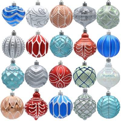 Snowtop Dazzle 80 mm Assorted Ornament Set (20-Count)