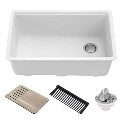 Bellucci White Granite Composite 29 in. Single Bowl Undermount Workstation Kitchen Sink with Accessories