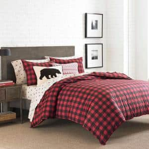 Mountain 3-Piece Scarlet Plaid Cotton King Duvet Cover Set
