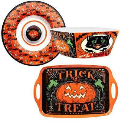 Scaredy Cat 3-Piece Heavy Weight Multicolored Melamine 19.25 in. Platter, 11 in. Bowl, 14.25 Chip and Dip Hostess Set