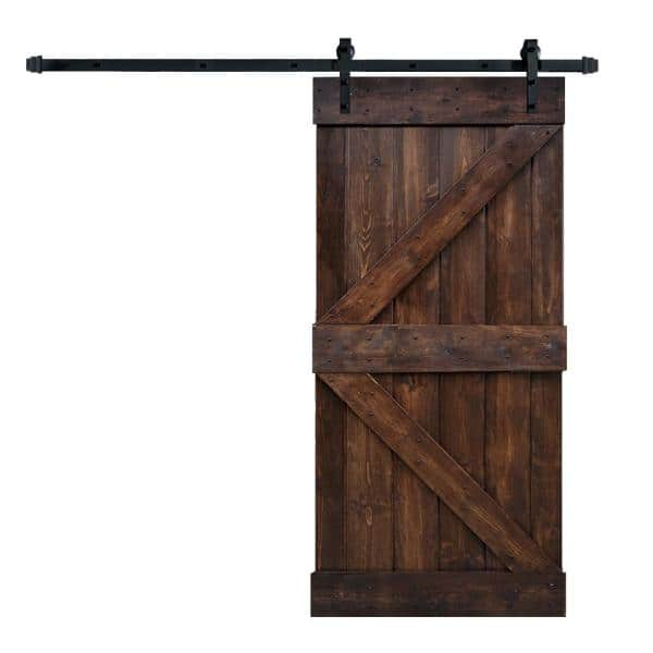 Wellhome 28 In X 84 In K Series Dark Walnut Diy Finished Knotty Pine Wood Sliding Barn Door Slab With Hardware Kit Sdk 72 Dwb28 D The Home Depot