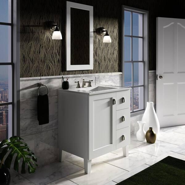 KOHLER - Poplin 30 in. Vanity in Linen White with Vitreous China Vanity Top in White