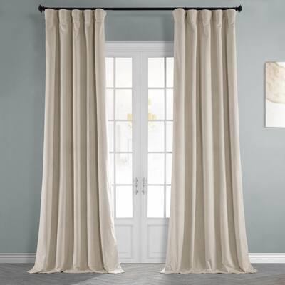Alabaster Beige Velvet Rod Pocket Blackout Curtain - 50 in. W x 84 in. L (1 Panel)