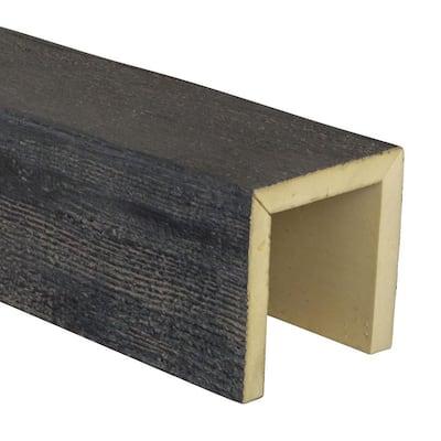 SAMPLE - 6 in. x 6 in. x 12 in. 3 Sided (U-Beam) Rough Sawn Aged Ash Endurathane Faux Wood Ceiling Beam Premium