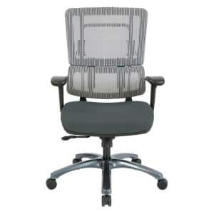 Vertical Grey Mesh Back Chair with Titanium Base and Grey Seat