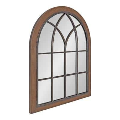 Nola 28 in. x 22 in. Classic Arch Framed Brown Wall Accent Mirror