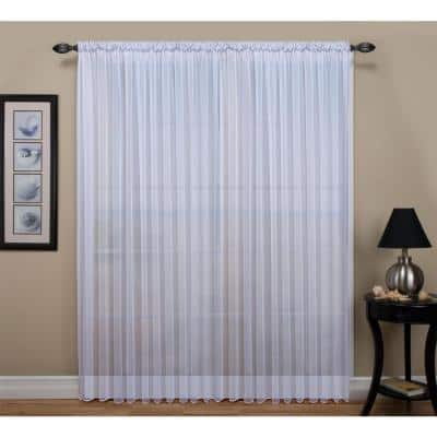 White Solid Rod Pocket Sheer Curtain - 54 in. W x 84 in. L