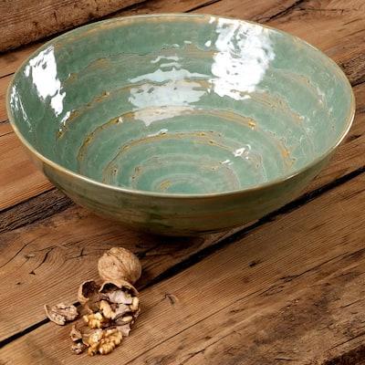 12 in. 10 oz. Green Porcelain Mineral Serve Bowl