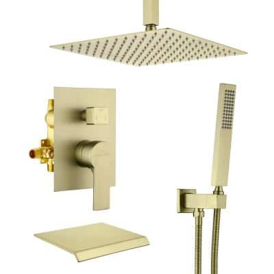 Ceiling Mount Single-Handle 1-Spray Tub and Shower Faucet in Brushed Gold - 12 Inch (Valve Included)