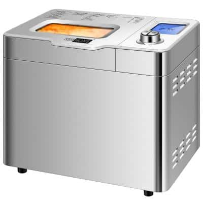 2 lb. Stainless Steel Gluten Free Bread Maker Machine with Removable Fruit and Nut Dispenser